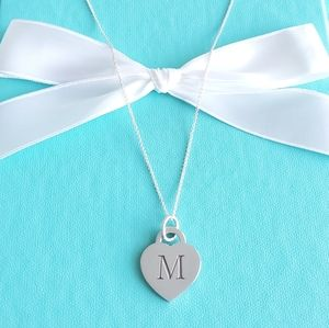 """Letter """"M"""" heart tag necklace"""
